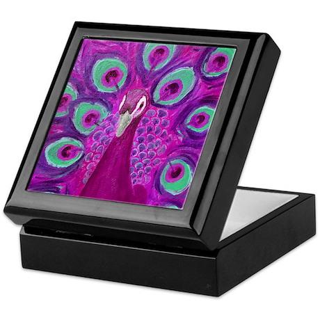 Purple Peacock Keepsake Box