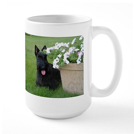 Dugan with Petunias Large Mug