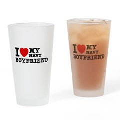 I love my Navy Boyfriend Drinking Glass