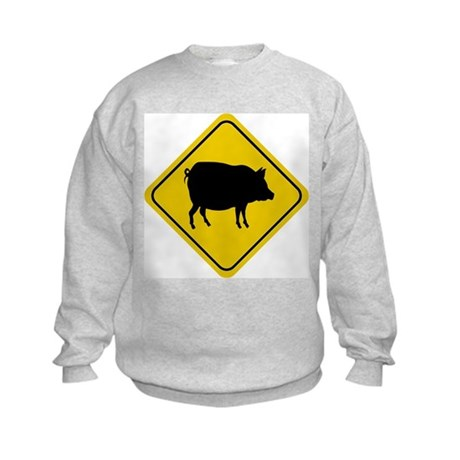 Pig Crossing Sign Kids Sweatshirt