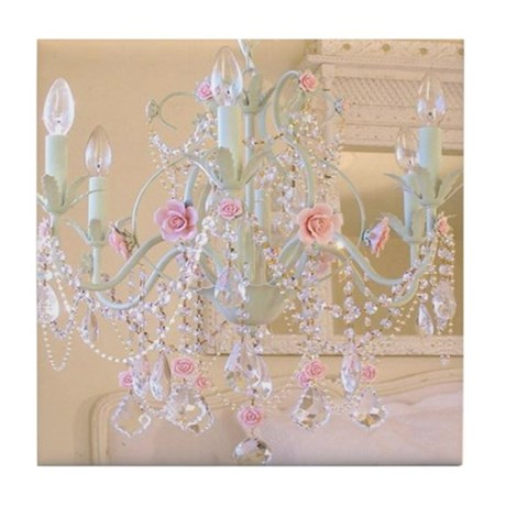 Shabby chic chandelier tile coaster by huesredesign for Shabby chic wall tiles