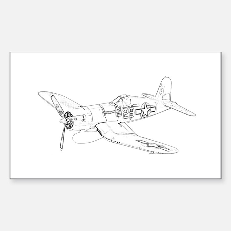 Vought F4U Corsair Sticker (Rectangle)