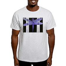 Purple Dragonfly Ash Grey T-Shirt