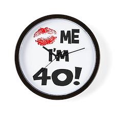 Kiss Me I'm 40 Wall Clock