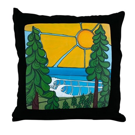 Pine Trees and Sun Throw Pillow