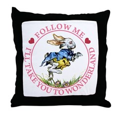 Follow Me To Wonderland Throw Pillow