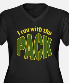 I run with The Pack Women's Plus Size V-Neck Dark