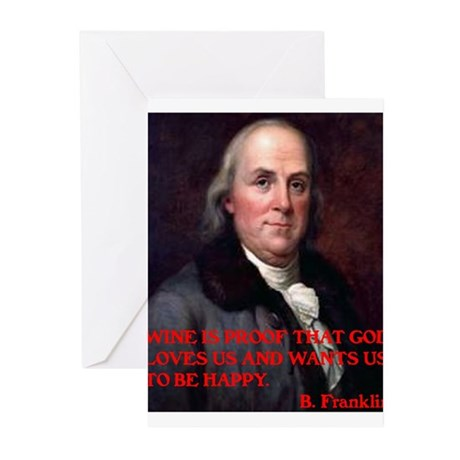 WINE QUOTE™ BEN FRANKLIN Greeting Cards (Pk of 10)