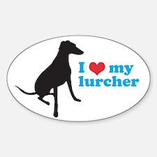 I Love My Lurcher Sticker (Oval 10 pk)