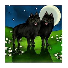 SCHIPPERKE DOGS FULL MOON Tile Coaster