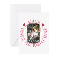 Alice Down the Rabbit Hole Greeting Cards (Pk of 1
