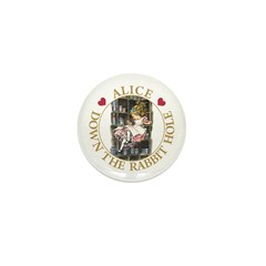 Alice Down the Rabbit Hole Mini Button