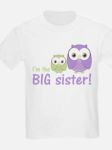 Big Sister Owl Purple/Green T-Shirt