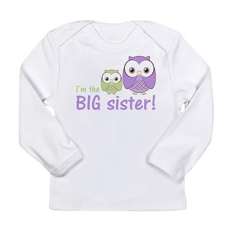Big Sister Owl Purple/Green Long Sleeve Infant T-S