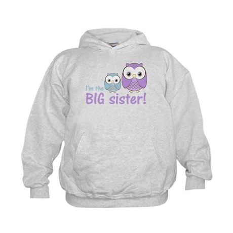 Big Sister Owl Purple/Blue Kids Hoodie