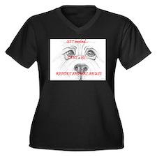 Unique Animal abuse Women's Plus Size V-Neck Dark T-Shirt