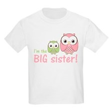 Big Sister Owl Pink/Green T-Shirt
