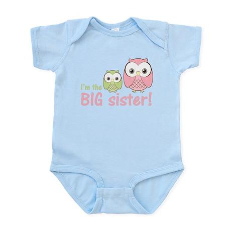 Big Sister Owl Pink/Green Infant Bodysuit