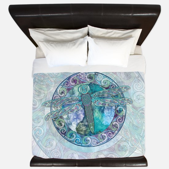 Cool Celtic Dragonfly King Duvet Cover
