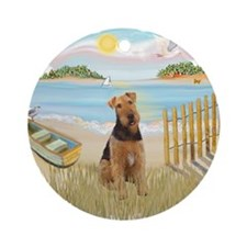 Rowboat - Airedale #1 Ornament (Round)