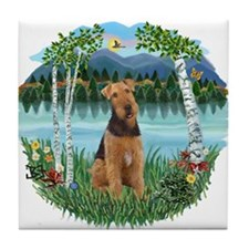 Birches / Airedale #1 Tile Coaster
