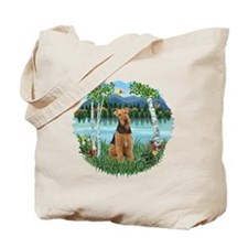 Birches / Airedale #1 Tote Bag