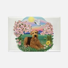 Blossoms / Airedale #5 Rectangle Magnet