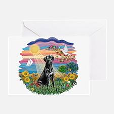 Autumn Sun-Black Lab#1 Greeting Card