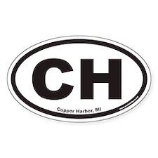 Copper Harbor Michigan CH Euro Oval Decal