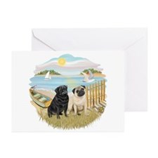 RowBoat-2 Pugs (B+F) Greeting Cards (Pk of 10)