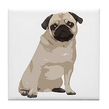 Cartoon Pug Tile Coaster