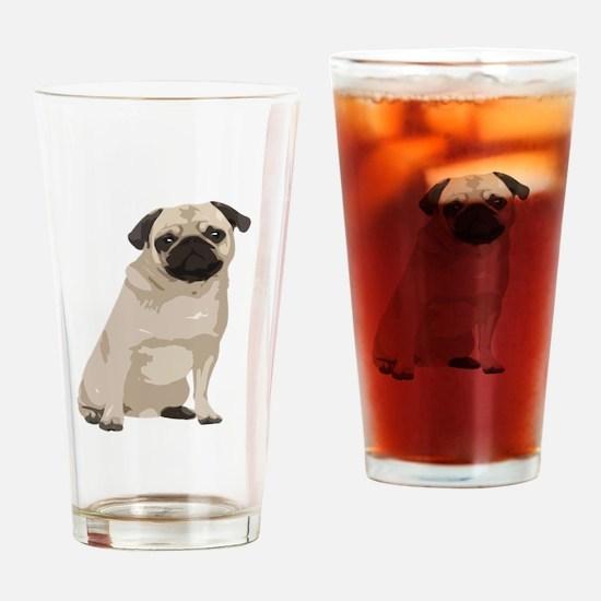 Cartoon Pug Drinking Glass