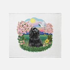Blossoms-Black Cocker Throw Blanket