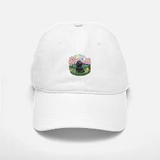 Blossoms-Black Cocker Baseball Baseball Cap
