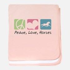 Peace, Love, Horses baby blanket