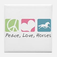 Peace, Love, Horses Tile Coaster