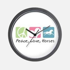 Peace, Love, Horses Wall Clock