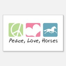 Peace, Love, Horses Sticker (Rectangle)