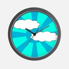 Cloudy Blue Rays Wall Clock