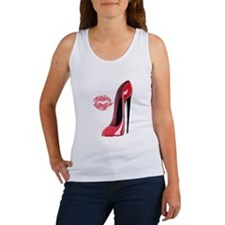 Red Stiletto Shoe and Kiss Women's Tank Top