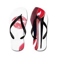 Red Stiletto Shoe and Kiss Flip Flops