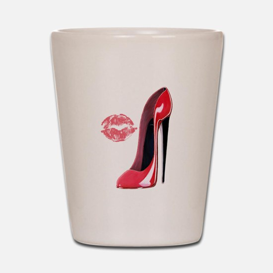 Red Stiletto Shoe and Kiss Shot Glass