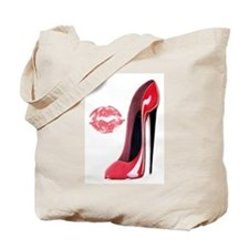 Red Stiletto Shoe and Kiss Tote Bag