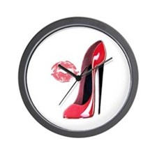 Red Stiletto Shoe and Kiss Wall Clock