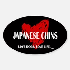 Love Japanese Chins Sticker (Oval)