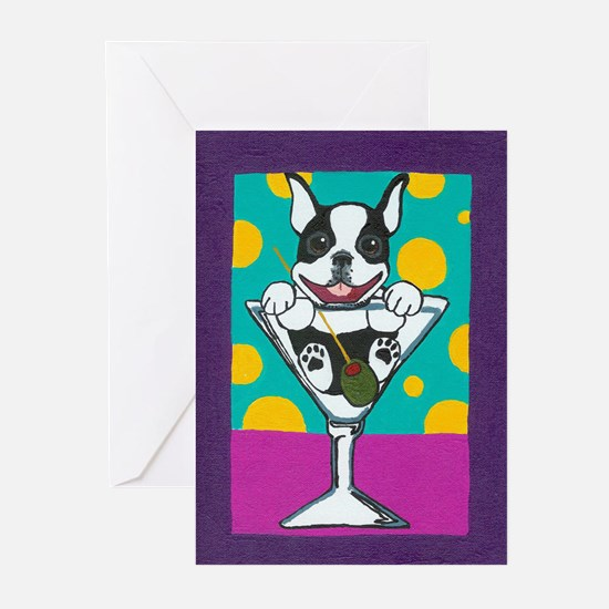 Boston Terrier Martini Greeting Cards (Package of