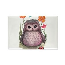 Purple Portly Owlet Rectangle Magnet (10 pack)