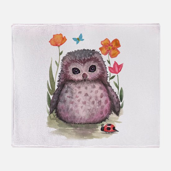 Purple Portly Owlet Throw Blanket