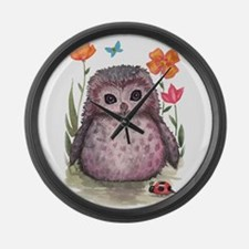 Purple Portly Owlet Large Wall Clock