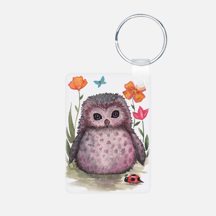 Purple Portly Owlet Keychains